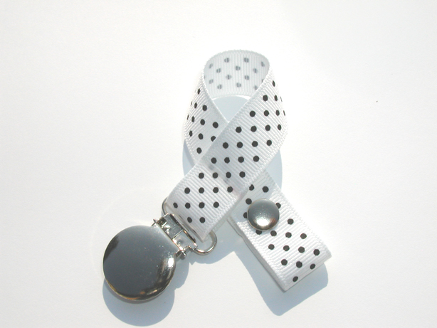 White w/ Black Mini Swiss Dots Small Pacifier Holder-White w/ Black Mini Swiss Dots Small Pacifier Holder