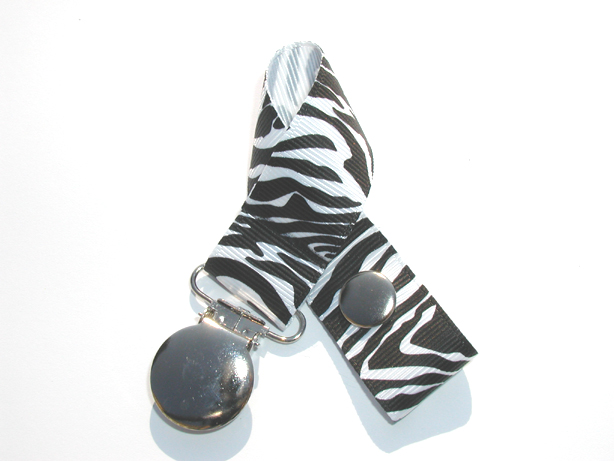 Zebra White Background Pacifier Holder-Zebra White Background Pacifier Holder
